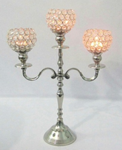 3 Crystal Ball T-Light Candle Stand B