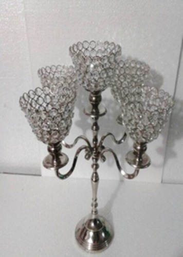 5 Arm Crystal Cone T-Light Candle Stand 3