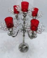 5 Red ARM GLASS VOTIVE CANDLE STAND 4
