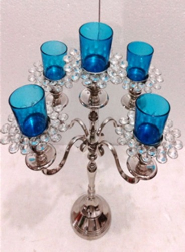5 Blue ARM GLASS VOTIVE CANDLE STAND 5