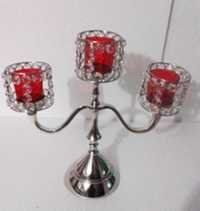 3 ARM Red GLASS VOTIVE CANDLE STAND