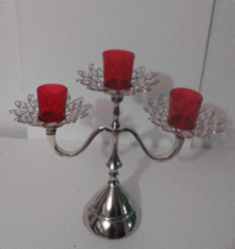 3 Red GLASS VOTIVE CANDLE STAND