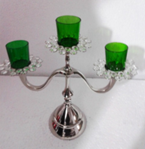 3 Green Glass Votive Candle Stand 9