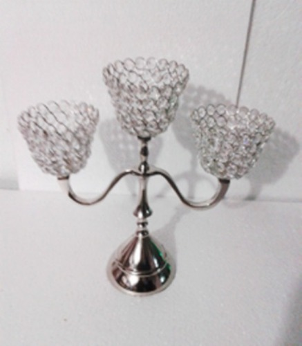 3 ARM Crystal Cone T-LIGHT CANDLE STAND