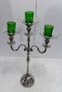 3 Green GLASS VOTIVE CANDLE STAND 11