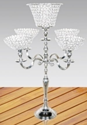 Five Arm Candle Holder With Crystal Lotus