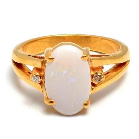 Opal & Diamond Gemstone Ring