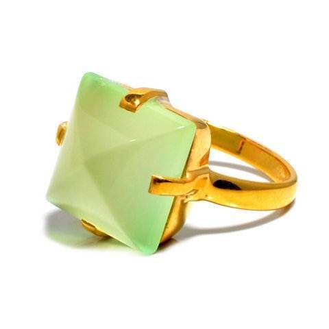 Sea Green Chalcedony Gemstone Ring