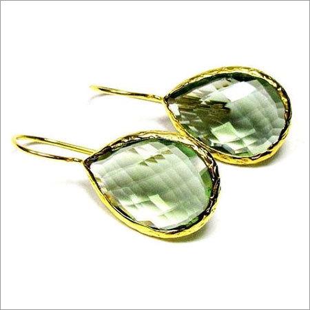 Green Amethyst Gemstone Earring