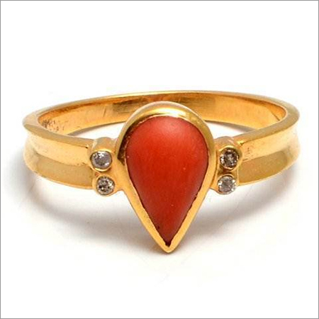 Red Coral & Diamond Gemstone Ring