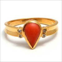 Red Coral & Diamond Gemstone Ring