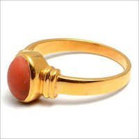 Red Coral Gemstone Ring