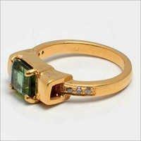 Tourmaline & Diamond Gemstone Ring