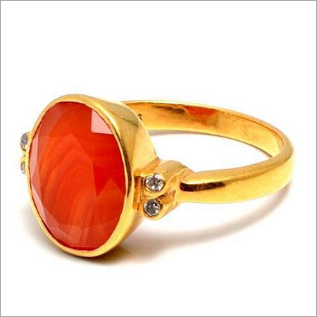 Carnelian & Diamond Gemstone Ring