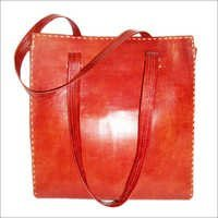 Leather tote handbag