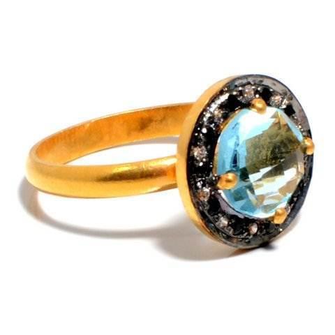 Blue Topaz & Diamond Gemstone Ring