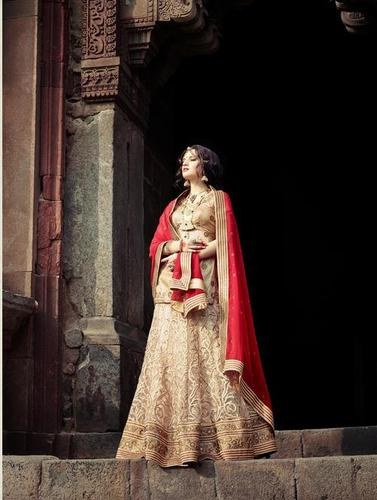 Elegant Beige and Red Wedding Lehenga