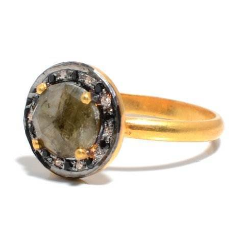 Labradorite & Diamond Gemstone Ring