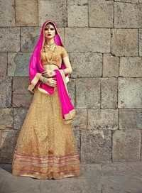 Royal wedding Bridal Beige and Pink Lehenga
