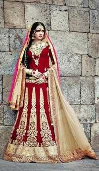 Heavy Embroidered Red Wedding Lehenga