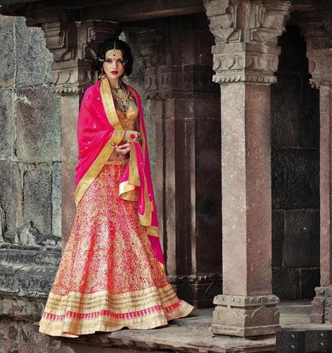 Royal Pink Embroidered Wedding bridal Lehenga 7389