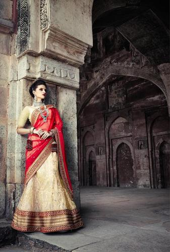 Designer Beige and Red Bridal Wedding Lehenga 7393