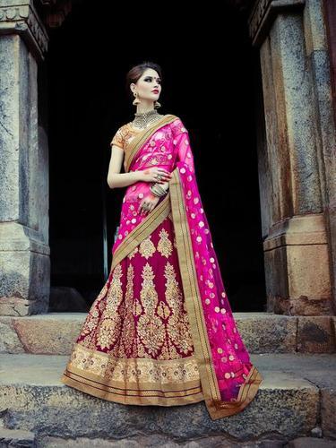 Royal Pink Embroidered Wedding bridal Lehenga 7394