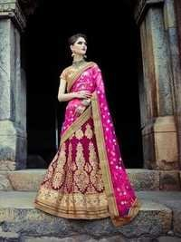 Royal Pink Embroidered Wedding bridal Lehenga 7394