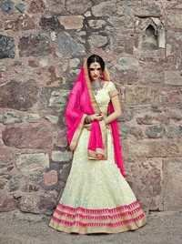 Heavy Embroidered Pink Wedding Lehenga 7396