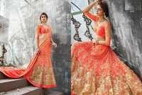 Heavy Embroidered Orange Wedding Lehenga 3202