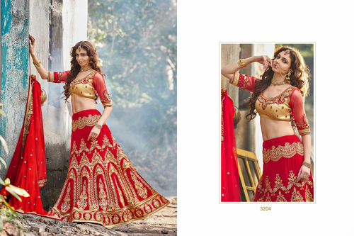 Ethnic Red Wedding Bridal Lehenga 3204