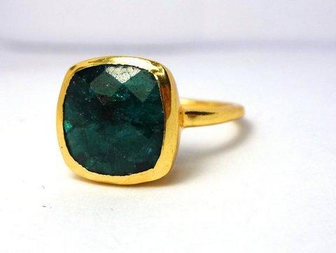 Dyed Emerald Gemstone Ring