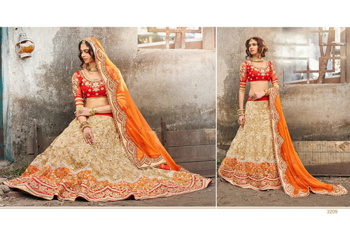 Designer Indian Bollywood Bridal Beige & Orange Lehenga Choli Saree Sari Ghaghra 3209