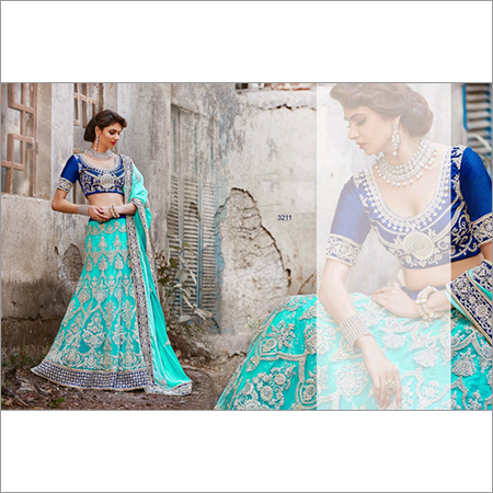 Elegent Light Blue Bollywood Lehenga Indian Wedding 3211