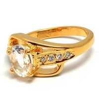 Crystal Quartz & Diamond Gemstone Ring