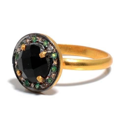 Black Onyx & Tourmaline Gemstone Ring