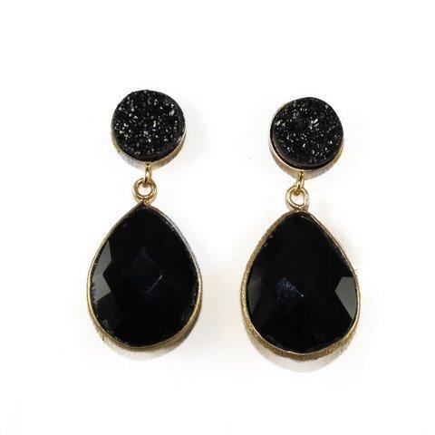 Black onyx & Druzy Gemstone Earring