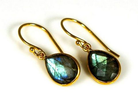 Green Labradorite Gemstone Earring