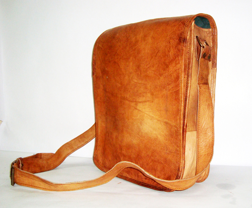 tanned leather tote bag