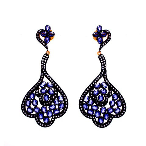 Sapphire & Zirconia Gemstone Victorian Earring