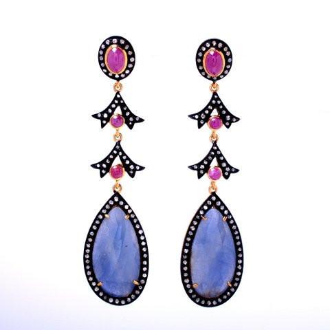 Ruby,Sapphire & Diamond Gemstone Victorian Earring