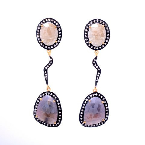 Multi Sapphire & Diamond Gemstone Victorian Earring