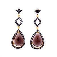 Smoky Topaz & Diamond Gemstone Victorian Earring