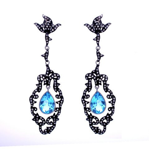 Blue Topaz & Diamond Gemstone Victorian Earring