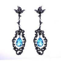 Blue Topaz & Diamond Gemstone Victorian Earring