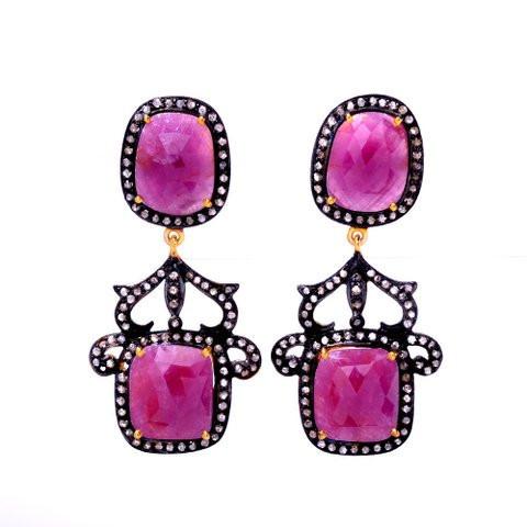 Diamond & Pink Ruby Gemstone Victorian Earring