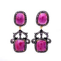 Diamond & Pink Ruby Gemstone Victorian Earring