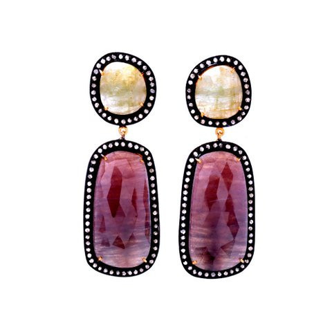 Diamond, Ruby & Yellow Sapphire Gemstone Victorian Earring