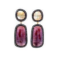 Diamond, Ruby & Yellow Sapphire Gemstone Victorian Earring