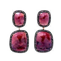 Diamond & Ruby Gemstone Victorian Earring